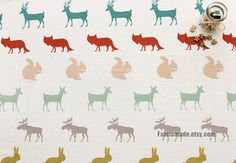 Animal Cotton Linen Fabric, Off White Linen With Cute Rabbit Fox Squirrel Elk Stag Deer For Kids Girls -  1/2 Yard
