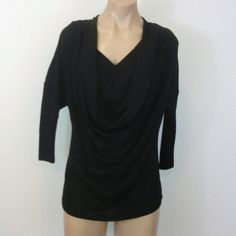 "Ann Taylor XS Black Layer Style Knit Top PM210 All over eyelet stretch knit cotton polyester fabric. V-neck cut with cowl draped detail. Half length fitted dolman sleeve. Bust measures 34"" relaxed but is stretchy. Length is 25.5"". Ann Taylor Tops Blouses"
