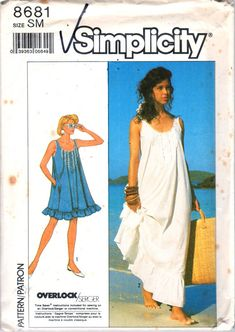 Nightgown Pattern Loose Fitting Beach Dress Misses Size 6 - 8 uncut Simplicity 8681 by PrettyfulPatterns on Etsy Simplicity Sewing Patterns, Vintage Sewing Patterns, Vintage Dresses, Vintage Outfits, Vintage Clothing, Bohemian Clothing, Vintage Lingerie, Vintage Fashion, Nightgown Pattern