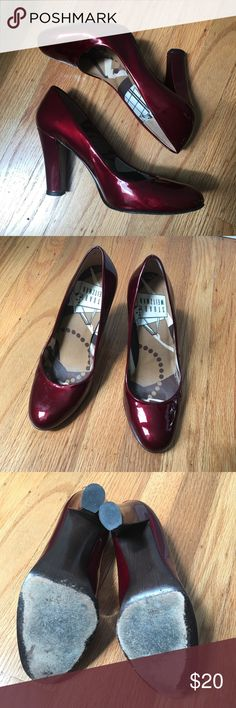 """Stuart Weitzman dark red patent pumps Stuart Weitzman round toed pumps in metallic dark red patent leather with 3.5"""" heel. Small scratch to outside of left heel as shown Stuart Weitzman Shoes Heels"""