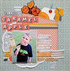 Christy Strickler for Scrapbook Challenges- Delicious Caramel Apple- Take a Big Bite- document seasonal foods-autumn/halloween