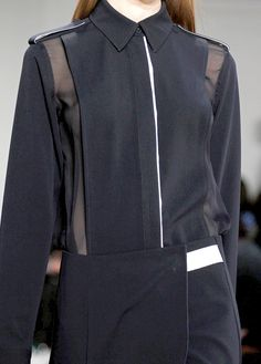 Black shirt with sheer panels & boxy silhouette; chic fashion details // Reed Krakoff