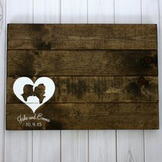 The rustic wood guest book sign is customized with YOUR OWN silhouettes, your name and wedding date. Just have your guests sign with a white paint pen. Made just for you by Simply Silhouettes.