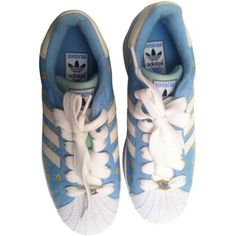 Blue Leather Trainers Superstar ADIDAS (529.600 COP) ❤ liked on Polyvore featuring shoes, leather sneakers, leather shoes, adidas trainers, blue shoes and adidas footwear