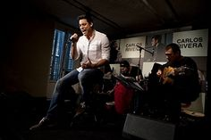 Singer Carlos Rivera performs live during his new album 'El Hubiera No Existe' presentation at Adolfo Dominguez Store on April 4, 2013 in Madrid, Spain.