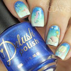 Incredible mermaid inspired nail art using Delush Polish's Tide of Your Life and…