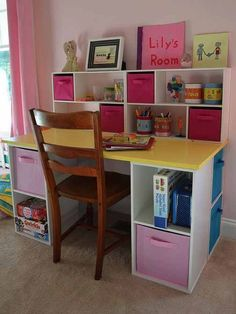 How To: Make an Inexpensive Desk for Your Kids - DIY Desk for Kids – Assembled. I hacked up some ClosetMaid cubes into a great little desk for Li - Desk Storage, Cube Storage, Storage Ideas, Kids Desk With Storage, Kids Desk Organization, Playroom Organization, Organizing, Diy Bathroom, Kid Desk