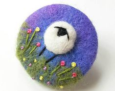 Felted Sheep brooch - blue purple needle felted and hand embroidered wool brooch