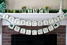 Leprechauns Welcome Banner St. Patricks Day Banner Spring Banner Spring Decoration Spring Decor Irish Banner Irish Decor