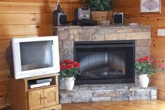 Corner stone faced faux fireplace