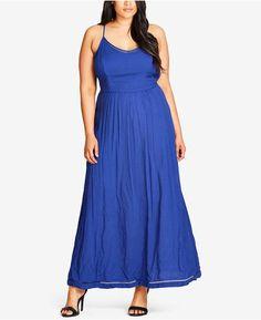 81d9d1e9665 City Chic Trendy Plus Size Dot-Print Maxi Dress Plus Sizes - Dresses -  Macy s