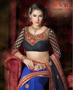 Appealing Black & Blue Saree