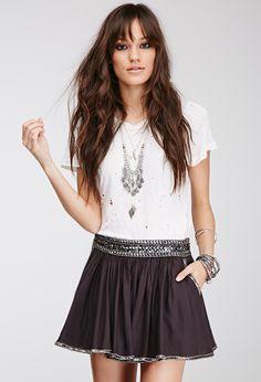 Beaded Trim Mini Skirt | FOREVER21 - 2000100651