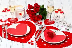 Valentine's Day table setting from Poundland for your romantic evening of dining in together.