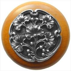 Notting Hill Decorative Hardware Ginkgo Berry/Maple Cabinet Knob, Antique Pewter