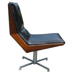 Mod Pair of Walnut Framed Swivel Chairs