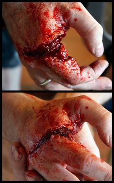 halloween diy makeup -- looks like it was done with a prosthetic or gelatin and then filled with gelatin or scab blood