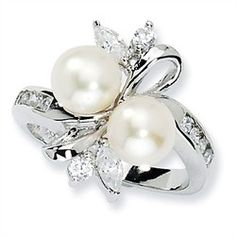 Freshwater Sterling Silver Pearl Rings - Sterling Silver CZ White Cultured Pearl Leaves Ring