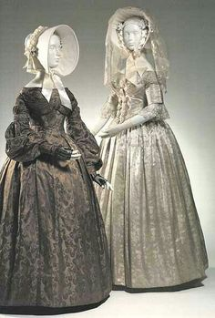 1830s bride and bridesmaid.