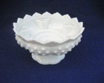 Fenton Hobnail Milk Glass Candle Holder Centerpiece Vintage 1970s Candlestick Holder