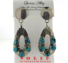 Solid .925 Sterling Silver Natural Turquoise Teardrop Earrings. Starting at $1