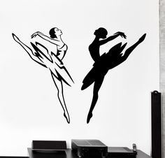 Wall Vinyl Decal Balerine Dancing Black And White Home Interior Decor z4132