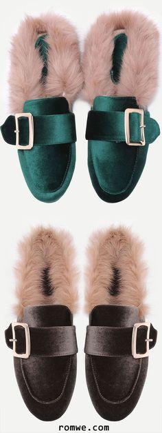 1372927f4 Velvet Buckled Faux Fur Embellished Flats Flat Sandals, Shoes Flats  Sandals, Loafer Shoes,