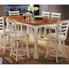 7 pc wilton two tone distressed oak and antique cream finish wood counter height dining table set. This set includes the table and 6 swivel chairs . Table measures x x H. Side chairs measure H to the back . Additional chairs also availabl Kitchen Dining Sets, Counter Height Dining Table, Wood Counter, Glass Dining Table, Acme Furniture, Home Decor Furniture, Home Furnishings, Bar Table Sets, Cream
