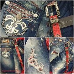 New! Laguna Beach Jean Co. Paint Splattered Wash with Swarovski Crystal Jeans...match it up with a red LBJC Belt! Inquiries at: info@lbjcdenim.com #rocktheoclifestyle
