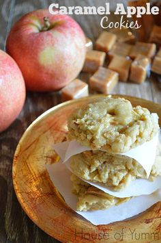 Caramel Apple Cookies! Soft apple cookies loaded with chewy caramel in the center!