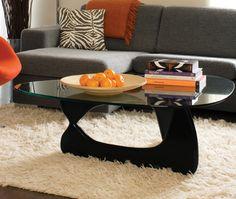 grey sofa, black glass table