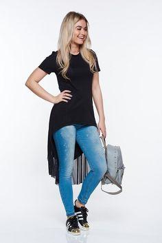 Tricou damă negru de vară asimetric cu aplicații de tull, StarShiners