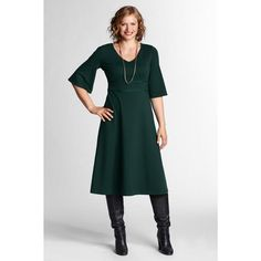 Lands End Elbow Length Bell Sleeve Drapey Ponte V-neck Dress - Pine  (Wish I could find more dresses in dark green like this!)