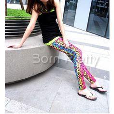 $6.70 Fluorescence Leopard Print Designed Tights Leggings - BornPrettyStore.com
