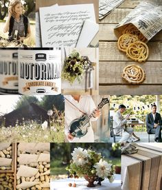 Palette: black, white, honey gold, green, tan. Mood: playful, rustic, low-key.