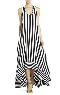 Gia Silk High-Low Striped Dress   BCBG