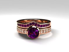 Amethyst engagement ring made from rose gold by TorkkeliJewellery
