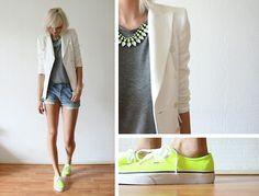 Neon done well     H Trend Neon Necklace And Top, Zara Blazer, Vintage Levis Shorts, Neon Vans
