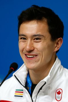 Patrick Chan attends a Canada Men's Figure Skating press conference ahead of the Sochi 2014 Winter Olympics at the Main Press Centre (MPC) o...