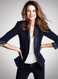 #Behati Prinsloo wearing Victoria's Secret Navy Tuxedo Blazer. Perfect for standout street style or elegant evenings. #MyVSFallEdit