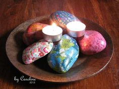 Decopatch over smooth stones, a nice project for a group. Make 50 for a friend's 50th birthday!