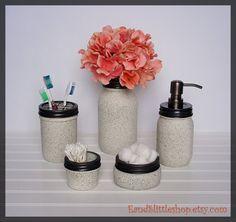 Stone Textured Mason Jar Bathroom Set 5pc With Lids-Rustproof Soap Pump & Lid-Mason Jar Soap Dispenser-Farmhouse Decor-Bathroom Accessories
