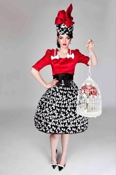 Spring Racing fashion - red black and white satin look with bow detail