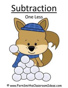 FREE Winter Subtraction One Less Concept Center & Interactive Notebook Activity! #TPT #Free #TeachersFollowTeachers www.FernSmithsClassroomIdeas.com