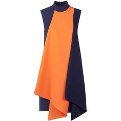 Victoria By Victoria Beckham Navy & Orange Folded Contrast Dress (5.425 HRK) ❤ liked on Polyvore featuring dresses, red dress, orange shift dress, colorblock dress, babydoll dress and red shift dress