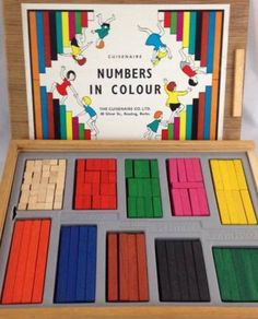 Vtg Wooden CUISENAIRE RODS NUMBERS IN COLOUR Orig Box School Maths Educational