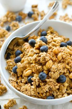 You won't believe that this loaded BAKED peanut butter granola is good for you! It's so crunchy, peanut butter-y and addicting, you'll want to eat it all straight from the pan! @Sarah   Whole and Heavenly Oven