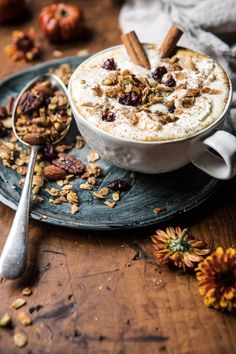Think of a pumpkin spice latte, add some oatmeal, whipped cream + granola and you'll have this delicious Pumpkin Spice Oatmeal Latte! Use Community Coffee for that quality taste that's been passed down from generation to generation. Slow Cooker Desserts, Pumpkin Recipes, Fall Recipes, Brunch Recipes, Breakfast Recipes, Coffee Recipes, Drink Recipes, Granola, Pumpkin Spice Syrup