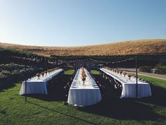 Outdoor reception, family style eating at our outdoor rustic wedding venue | Taber Ranch Vineyard & Event Center