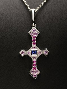"""Sterling Silver Renaissance Style Cross with Blue and Pink Sapphire on an 18"""" Chain"""